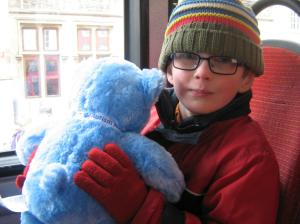 my son with his Autism Awareness bear