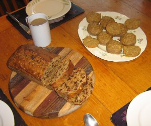 Barm Brack, aka Working Mother's cake, plus tea and muffins