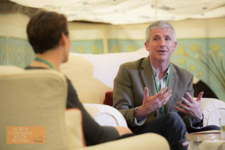 Patrick Gale and Ali Mercer at North Cornwall Book Festival